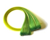 Hair Extensions - Lemon Lime Green and Yellow Tipped Clip-In Streaks - SALE 25% OFF