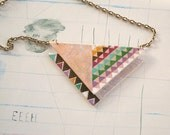 Hand painted geometric necklace. Colors. Triangles