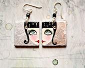 Araceli. Hand painted earrings. Sterling silver