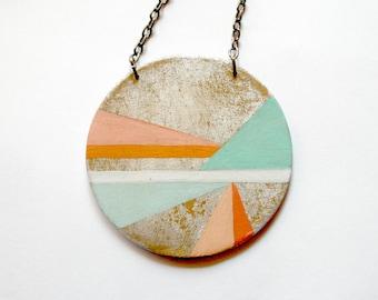 Hand painted geometric pendant