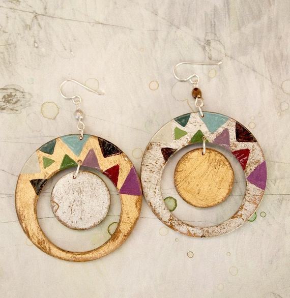 Dangle earrings, gold jewelry, hand painted earrings, geometric earrings, jewelry gift, Sterling silver earwires. Gift for her.