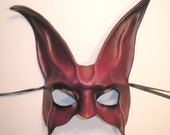 Leather Rabbit Mask in purple red Halloween is Coming READY TO SHIP