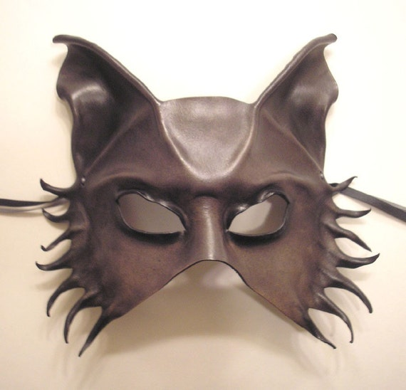 Leather Mask of a Wolf...or Dog...or Fox...Half Face Version...shaded grey with black