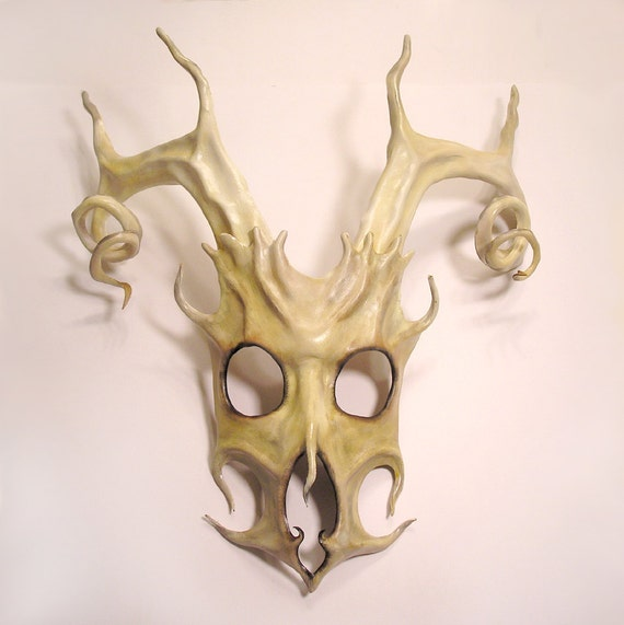 Stag Spirit Mask in Leather with Spiral Antlers