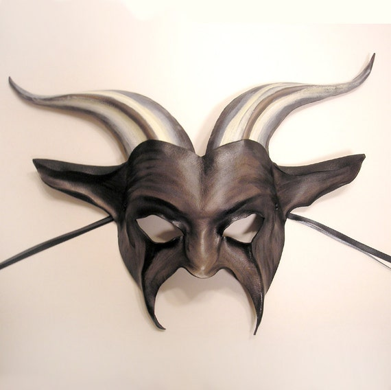 Leather Goat Mask with Stripey Horns has a gothic kind of dark carnival thing going on Halloween Is Coming READY TO SHIP