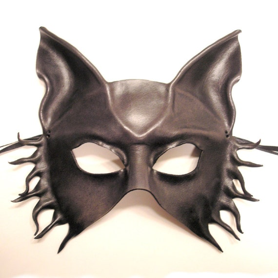 Leather Mask of a Wolf Fox or Dog in Dark Smoky Grey and Black  with Brownish Undertones