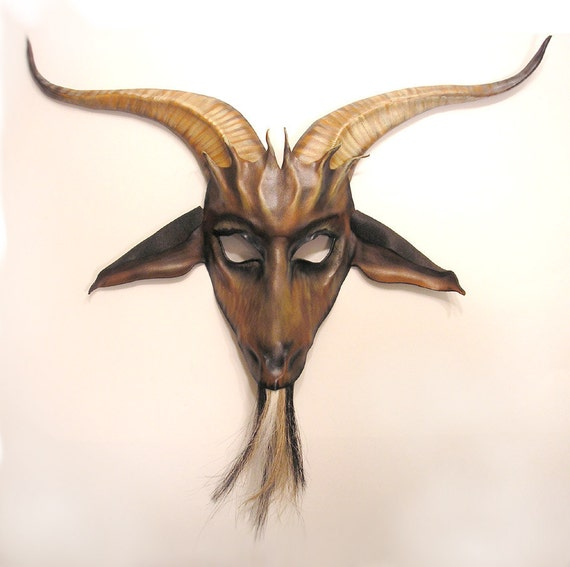 Leather Goat Mask with Horsehair Beard
