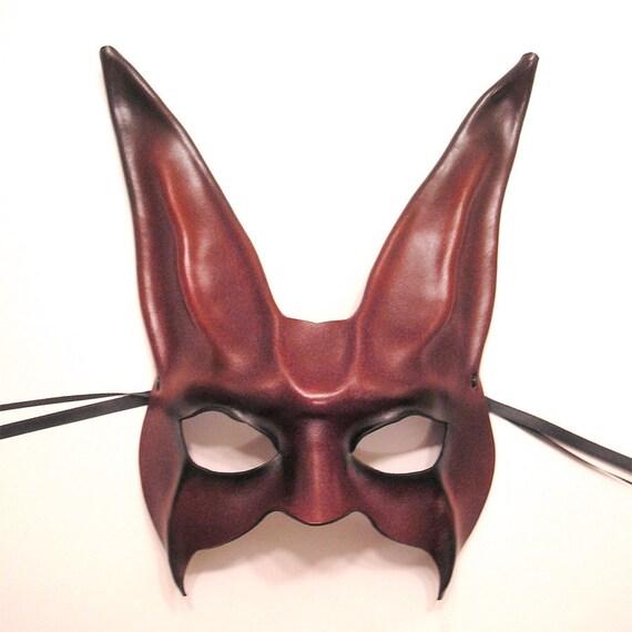 Leather Rabbit Mask in dark purplish red