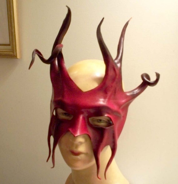 RESERVED FOR AUTUMN- Leather Mask of a Devil in Red and Black with Horns and Spirals