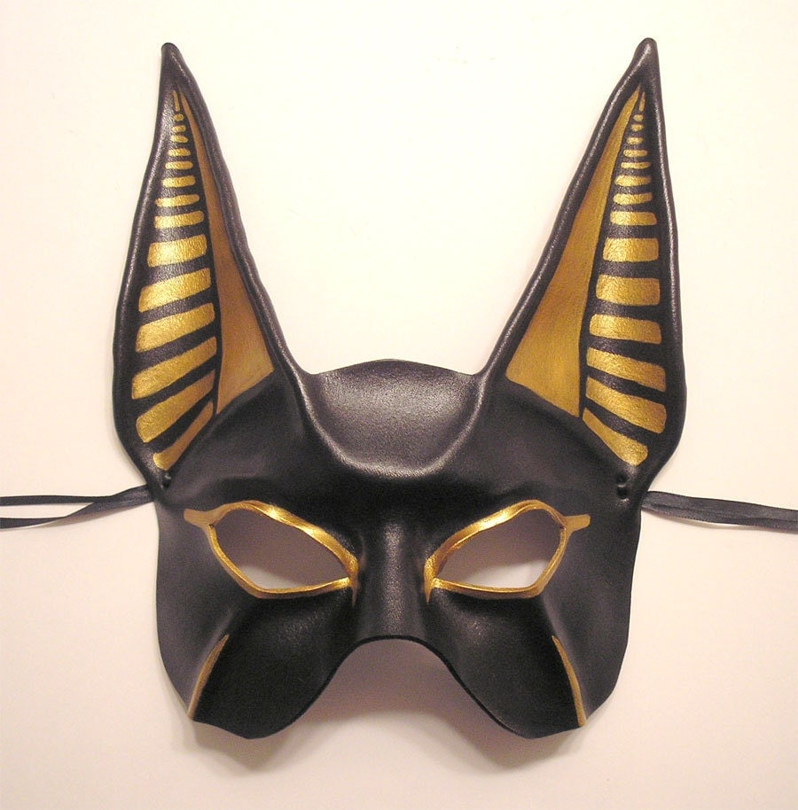 Egyptian God Anubis Leather Mask this is the Half Face Version