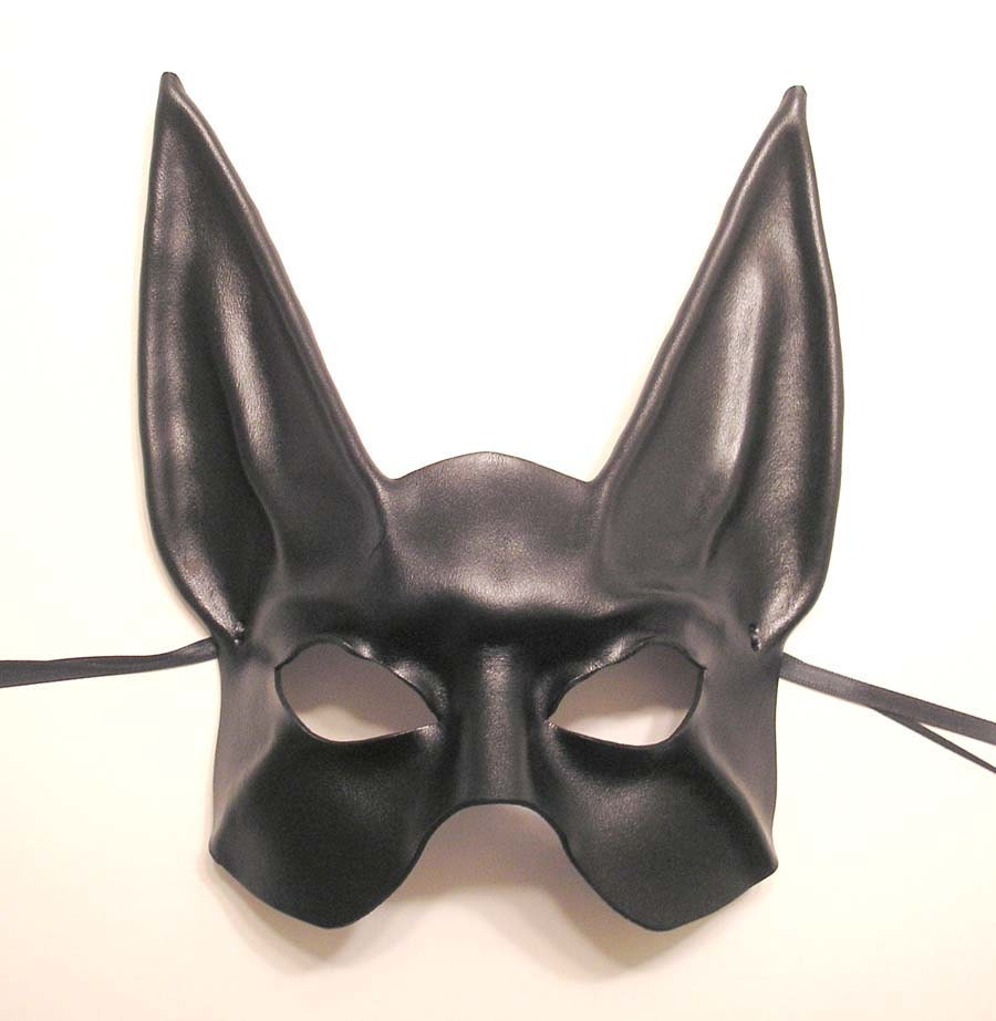 Black Jackal Egyptian God Anubis Leather Mask Half Face