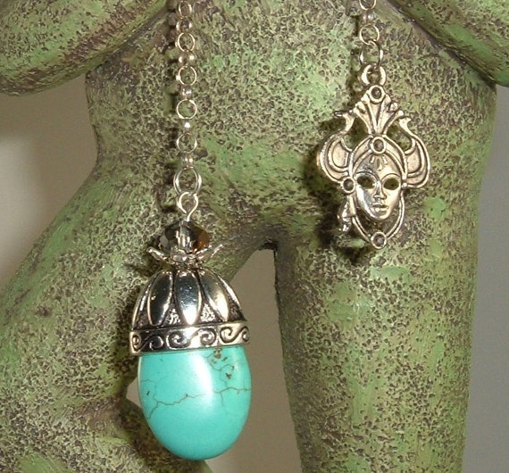 ON SALE Turquoise and Crystal Pendulum, Reiki, Dowsing, Divination, Metaphysical, Mystical, Psychic