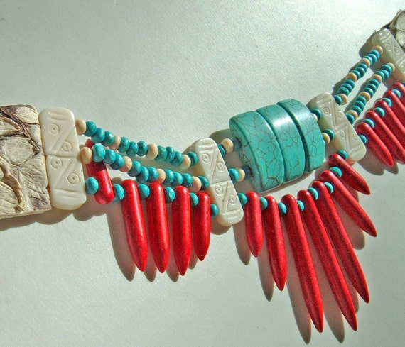 Native American Indian Choker with Turquoise, Red Magnesite, Snakeskin and Wooden Beads