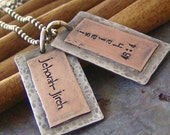 Cyber Monday Sale 10% off    Dad Tags.....Rustic copper and sterling silver hand stamped necklace