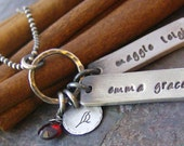 Rustic names on a ring....fine silver hand stamped personalized necklace