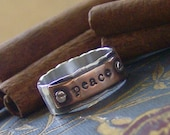 Hardwear ring hand stamped sterling silver and copper