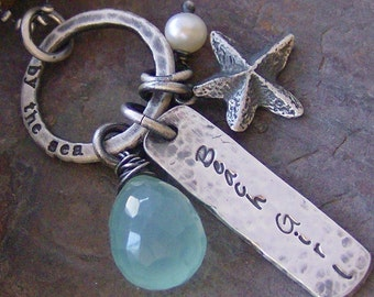 Beach Girl... hand stamped fine sterling silver and gem stone beach necklace