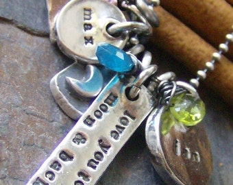 Eclectic Moon.... hand stamped fine silver personalized necklace with gem stones