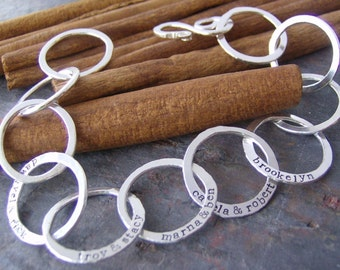 Family links....hand stamped and forged fine silver family bracelet.