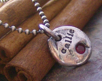Gem stone pebbles.... hand stamped personalized fine slver organic gem stone necklace