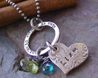Vintage Romance with stamped ring..hand stamped personalized fine silver and gem stone necklace