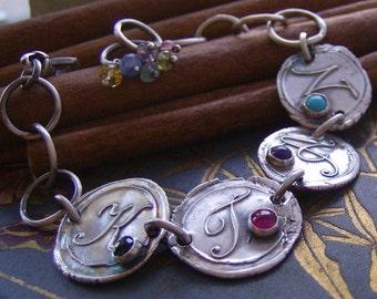Vintage letters with gem stones...4 letter hand stamped fine silver wax seal style bracelet set with gem stones