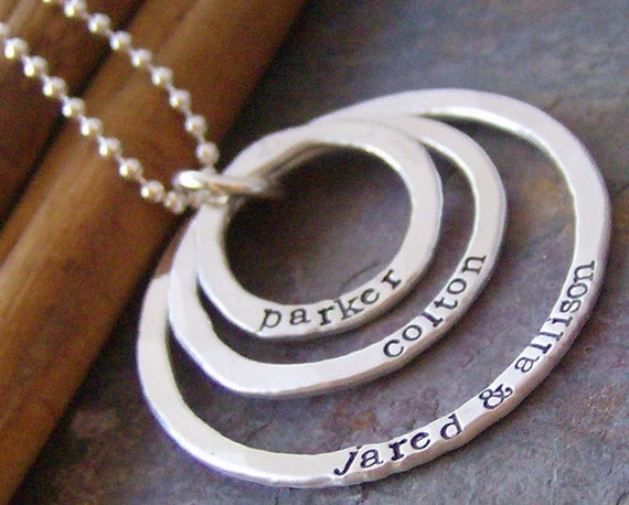 Tripple eternity ring... sterling silver hand stamped mothers necklace
