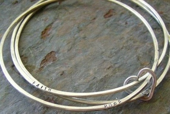 Hand stamped personalized Sterling Bangle Trio, forged and stamped bracelets with heart