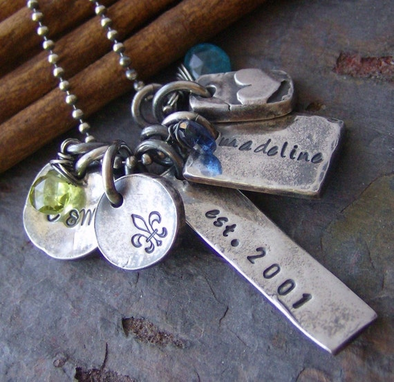 Eclectic Family...fine silver hand stamped personalized necklace