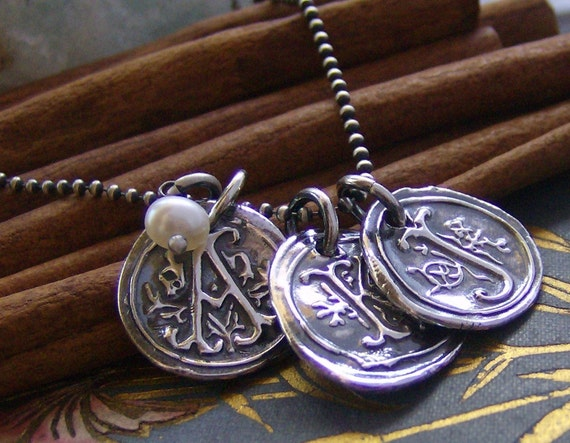 tripple Vintage letters with pearl... hand stamped fine silver wax seal initial necklace