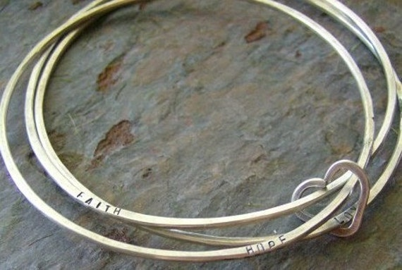 Sterling Bangle Trio, forged and stamped bracelets with heart