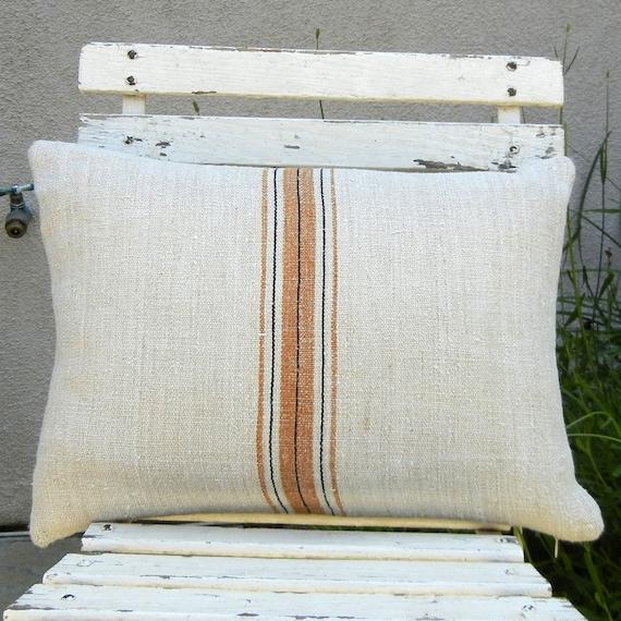 Antique Grain Sack Pillow - Caramel