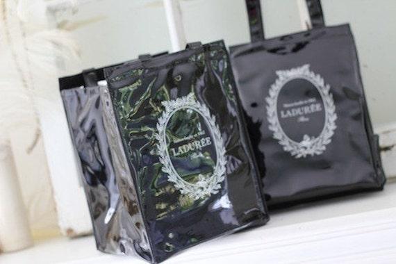 Laduree Paris Insulated Lunch Bag Black Patent Look New