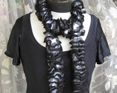 Black ruffles scarf with white and grey