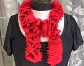 Red knitted ruffles scarf