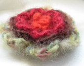 Mohair 4 layers knitted flower brooch -- green-brown-bordo-orange