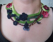 Freeform crochet necklaceflowers and leaves OOAK