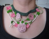 A freeform necklace with pink flowers OOAK