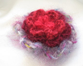 Knitted flower brooch of mohair, 4 layers -- purple-bordo-red