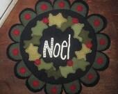 Wool Holly Wreath Penny Rug