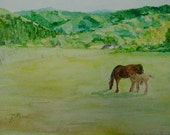 Horses Rural Landscape Painting Original Watercolor 9x12 Colorful Equine Art K. Joann Russell