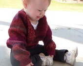 knit baby pullover burgundy size 12-18 months