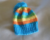 hand knit cotton baby hat size 0 - 6 months