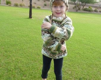knit child   sweater, warm,  size 4 - 6