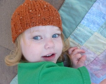 hand knit  toddler hat pumpkin tweed