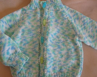 hand knit baby sweater - 6 - 12 months