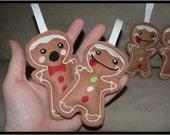 2 Gingerbread Man Christmas Ornaments
