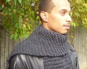 Ready to Ship-Charcoal and Thick Manly Scarf-International Shipping Available-Custom Orders are Welcomed