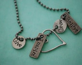 Custom 5 charm pewter inspirational necklace.  Make it personal.