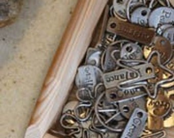 10 Pewter Word Charms